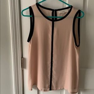 LOFT Pink and Black Sleeveless Top, Size Small